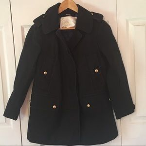 {COACH} Black Military Style Trench Coat Jacket XS